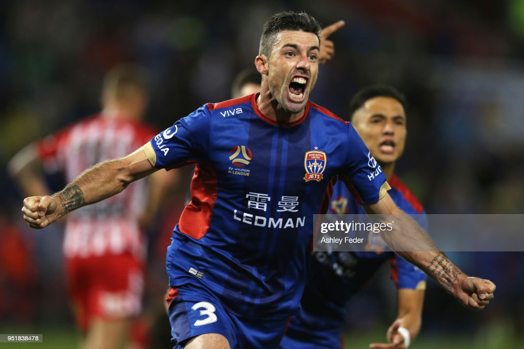 Jason Hoffman of the Jets celebrates his goal during the A-League Semi Final match between the Newcastle Jets and Melbourne City at McDonald Jones Stadium on April 27, 2018 in Newcastle, Australia.