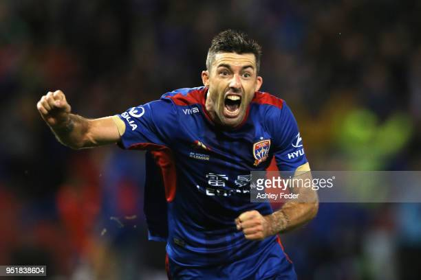 Jason Hoffman of the Jets celebrates his goal during the ALeague Semi Final match between the Newcastle Jets and Melbourne City at McDonald Jones...