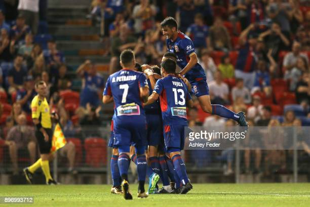 Jason Hoffman of the Jets celebrates his goal during the round 12 ALeague match between the Newcastle Jets and the Western Sydney Wanderers at...