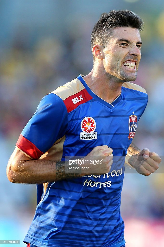 Jason Hoffman of the Jets celebrates the win during the round 21 A-League match between the Central Coast Mariners and the Newcastle Jets at Central Coast Stadium on February 28, 2016 in Gosford, Australia.
