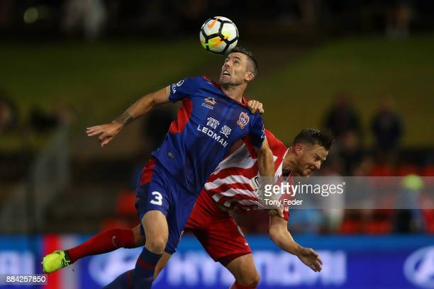 Jason Hoffman of the Jets controls a header during the round nine ALeague match between the Newcastle Jets and Melbourne City at McDonald Jones...