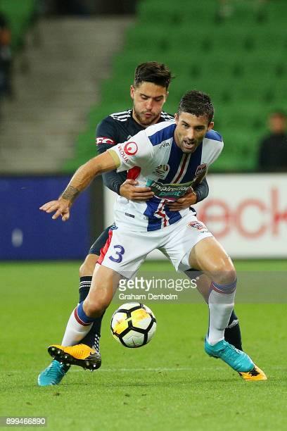 Jason Hoffman of the Jets controls the ball during the round 13 ALeague match between the Melbourne Victory and the Newcastle Jets at AAMI Park on...