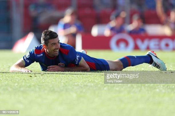 Jason Hoffman of the Jets during the round 17 ALeague match between the Newcastle Jets and Wellington Phoenix at McDonald Jones Stadium on January 20...