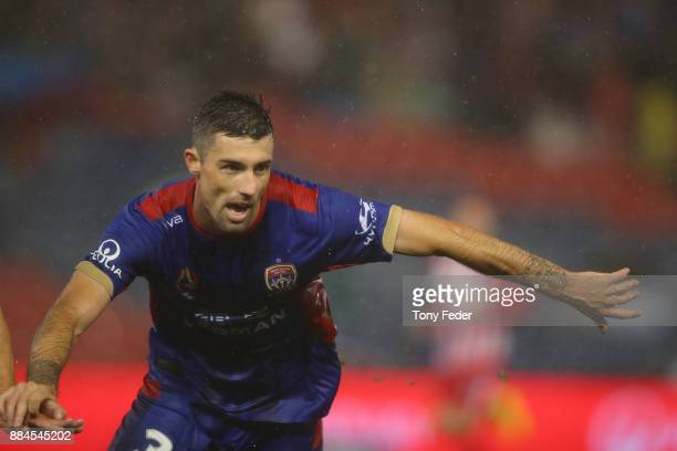 Jason Hoffman of the Jets during the round nine ALeague match between the Newcastle Jets and Melbourne City at McDonald Jones Stadium on December 2...