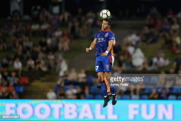 Jason Hoffman of the Jets heads the ball during the round 16 ALeague match between the Newcastle Jets and the Brisbane Roar at McDonald Jones Stadium...