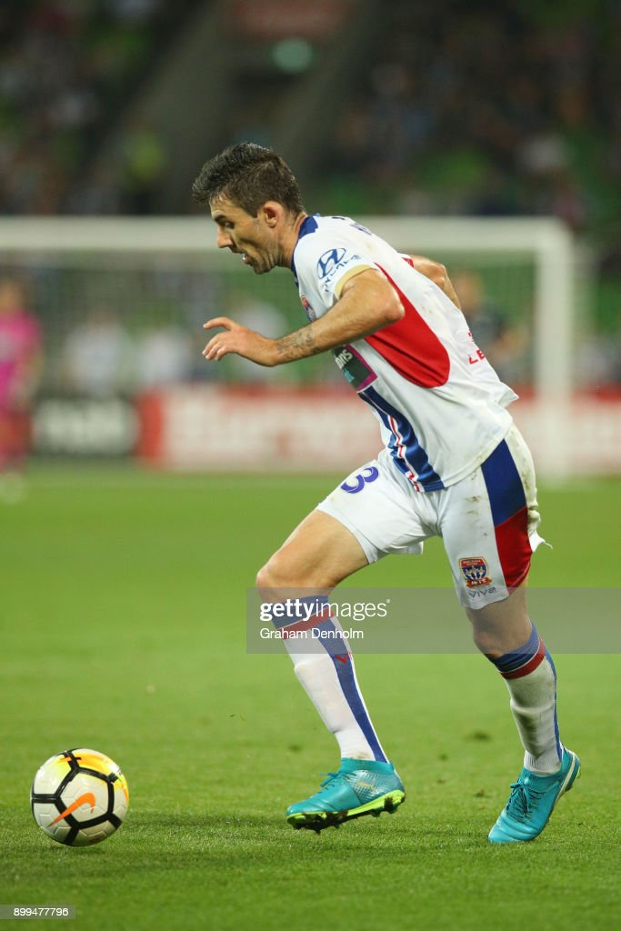 Jason Hoffman of the Jets in action during the round 13 A-League match between the Melbourne Victory and the Newcastle Jets at AAMI Park on December 29, 2017 in Melbourne, Australia.