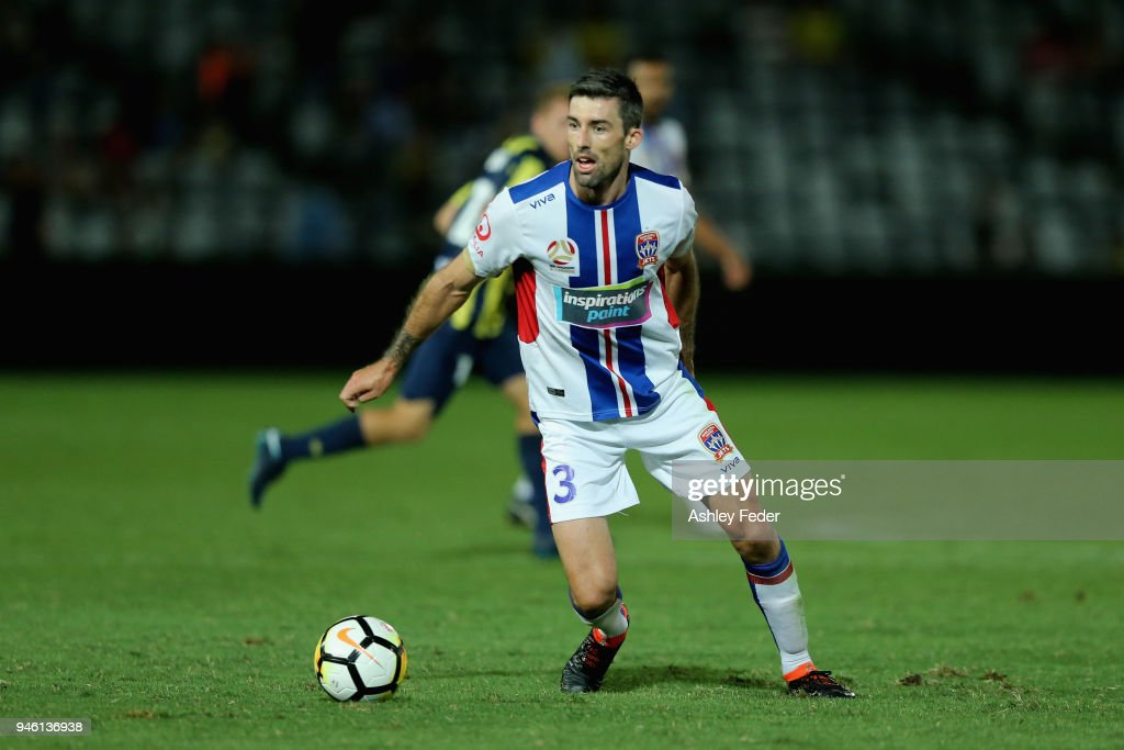 Jason Hoffman of the Jets in action during the round 27 A-League match between the Central Coast Mariners and the Newcastle Jets at Central Coast Stadium on April 14, 2018 in Gosford, Australia.