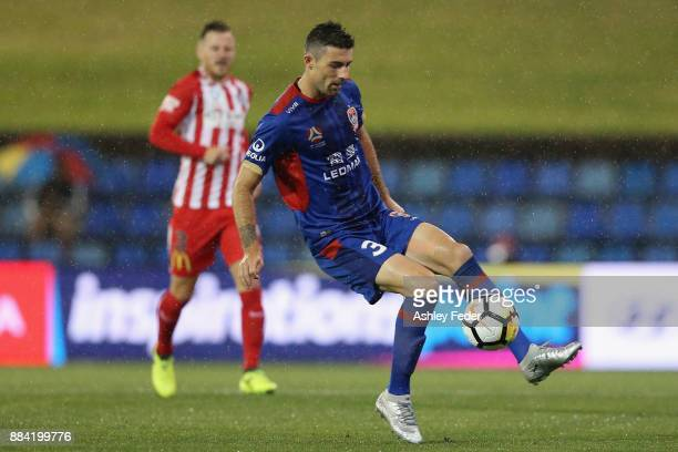 Jason Hoffman of the Jets in action during the round nine ALeague match between the Newcastle Jets and Melbourne City at McDonald Jones Stadium on...