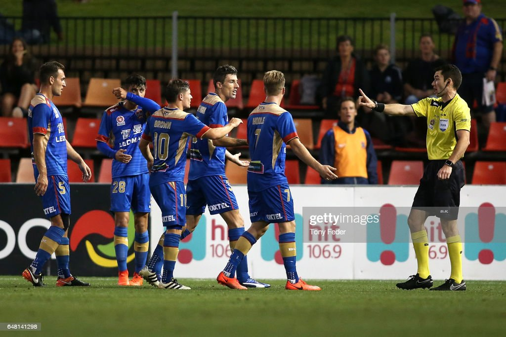 Jason Hoffman of the Jets is sent off during the round 22 A-League match between the Newcastle Jets and the Brisbane Roar at McDonald Jones Stadium on March 5, 2017 in Newcastle, Australia.