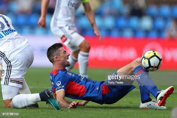Jason Hoffman of the Jets looks to control the ball during the round 19 ALeague match between the Newcastle Jets and the Melbourne Victory at...