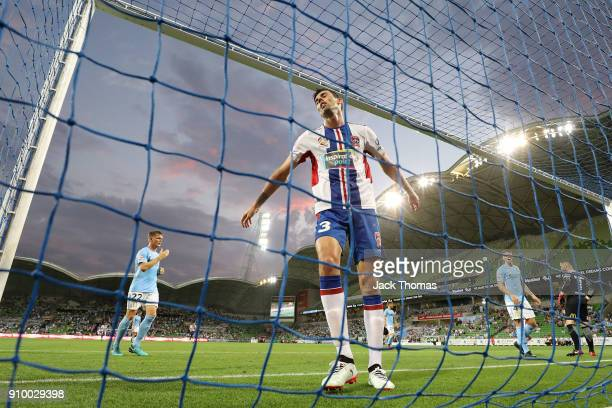 Jason Hoffman of the Jets reacts during the round 18 ALeague match between Melbourne City FC and the Newcastle Jets at AAMI Park on January 25 2018...