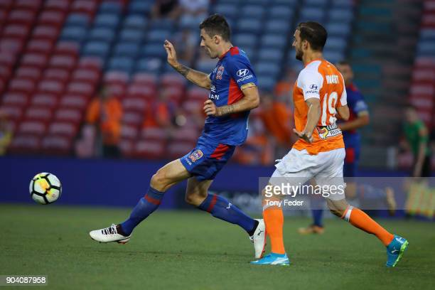 Jason Hoffman of the Jets scores a goal during the round 16 ALeague match between the Newcastle Jets and the Brisbane Roar at McDonald Jones Stadium...