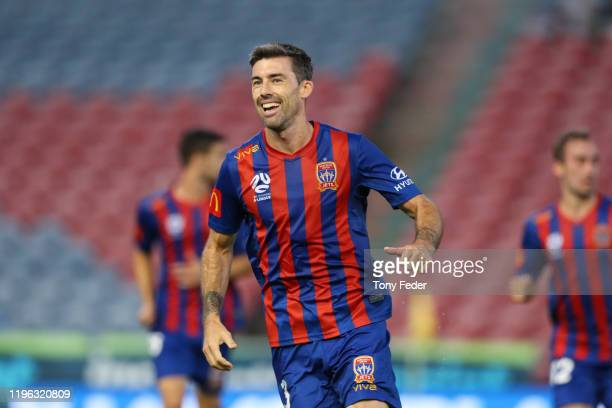 Jason Hoffman of the Newcastle Jets celebrates a goal during the round 12 A-League match between the Newcastle Jets and Brisbane Roar at McDonald...
