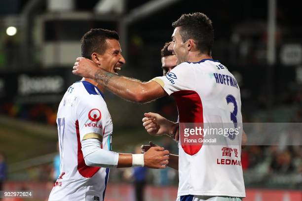 Jason Hoffman of the Newcastle Jets scores a goal during the round 23 ALeague match between the Wellington Phoenix and the Newcastle Jets at QBE...