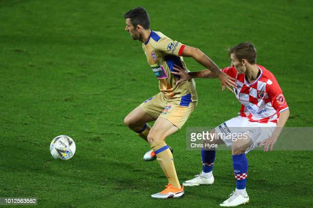 Jason Hoffmann of the Jets controls the ball during the FFA Cup round of 32 match between Gold Coast Knights and Newcastle Jets at Cbus Stadium on...