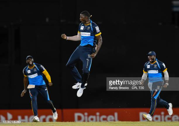 Jason Holder of Barbados Tridents celebrates the dismissal of Rovman Powell of Jamaica Tallawahs during the Hero Caribbean Premier League match 14...