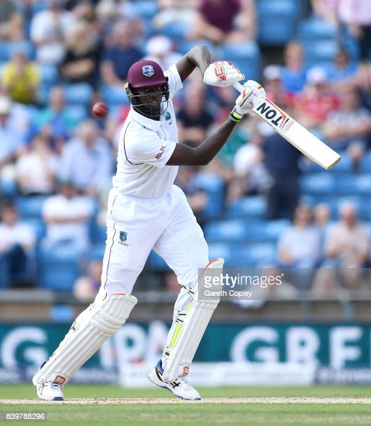 Jason Holder of England bats during day three of the 2nd Investec Test between England and the West Indies at Headingley on August 27, 2017 in Leeds,...