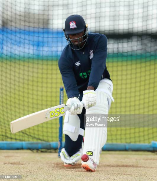 NORTHAMPTON ENGLAND APRIL 03 Jason Holder of Northamptonshire practices his batting at the Northamptonshire County Cricket session held at The County...