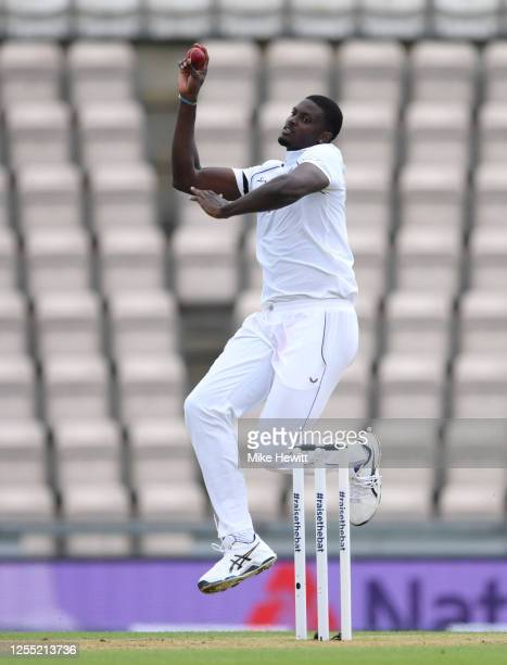 Jason Holder of the West Indies bowls during day two of the 1st #RaiseTheBat Test match at The Ageas Bowl on July 09 2020 in Southampton England