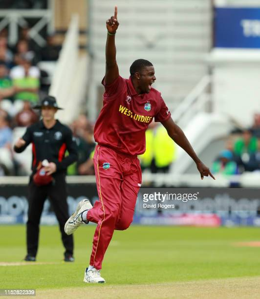 Jason Holder of the West Indies celebrates after taking the wicket of Imad Wasim during the Group Stage match of the ICC Cricket World Cup 2019...