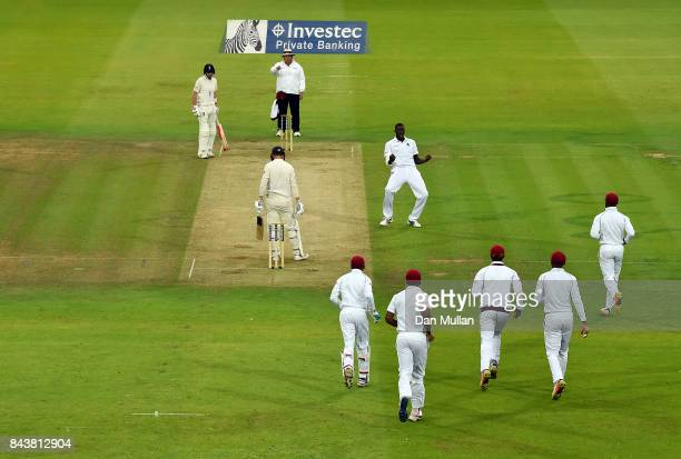 Jason Holder of the West Indies celebrates taking the wicket of Tom Westley of England during day one of the 3rd Investec Test Match between England...