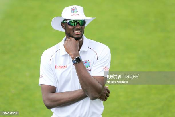 Jason Holder of the West Indies looks on during day three of the Test match series between New Zealand Blackcaps and the West Indies at Basin Reserve...