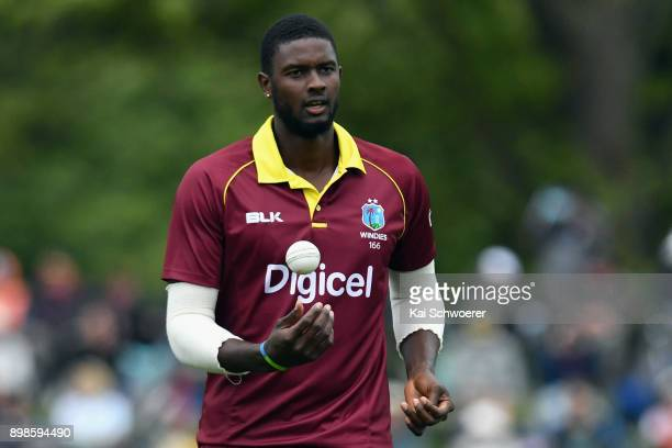 Jason Holder of the West Indies looks on during the One Day International match during the series between New Zealand and the West Indies at Hagley...