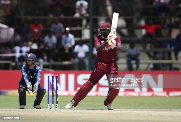 Jason Holder of the West Indies scores runs during The ICC Cricket World Cup Qualifier between The West Indies and Scotland at The Harare Sports Club...
