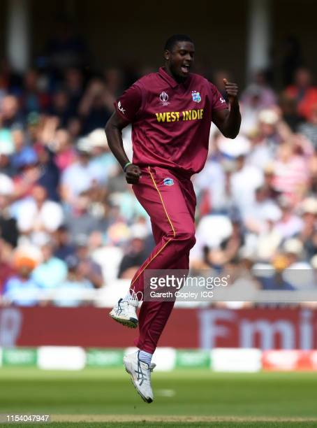 Jason Holder of West Indies celebrates after taking the wicket of Marcus Stoinis of Australia during the Group Stage match of the ICC Cricket World...