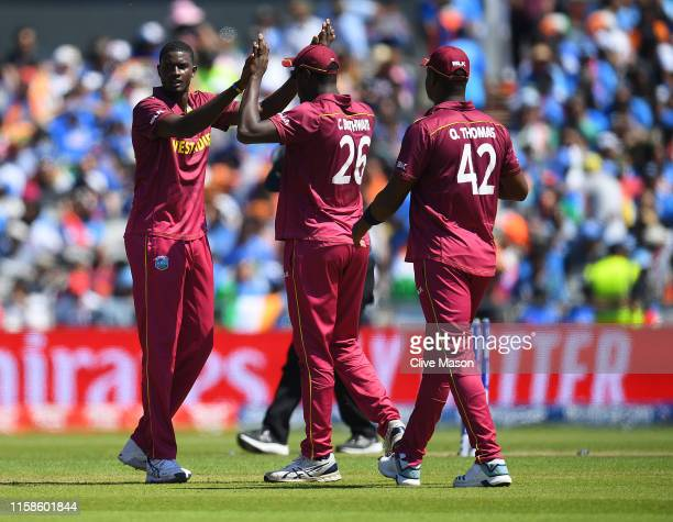 Jason Holder of West Indies celebrates dismissing KL Rahul of West Indies during the Group Stage match of the ICC Cricket World Cup 2019 between West...