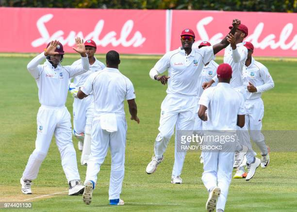Jason Holder of West Indies celebrates the dismissal of Mahela Udawatte of Sri Lanka during day 1 of the 2nd Test between West Indies and Sri Lanka...