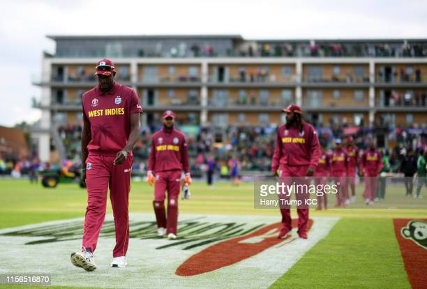 Jason Holder of West Indies cuts a dejected figure after defeat to Bangladesh during the Group Stage match of the ICC Cricket World Cup 2019 between...