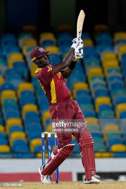 Jason Holder of West Indies hits 6 during the 2nd ODI between West Indies and Australia at Kensington Oval, Bridgetown, Barbados, on July 24, 2021.