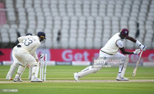 Jason Holder of West Indies is bowled by Dom Bess of England during Day Five of the 2nd Test Match in the #RaiseTheBat Series between England and The...