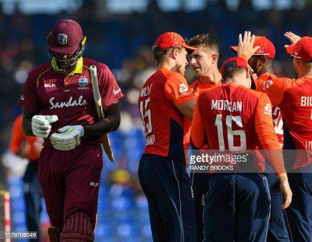 Jason Holder of West Indies walks off the field dismissed by Joe Denly of England during the 3rd and final T20I between West Indies and England at...