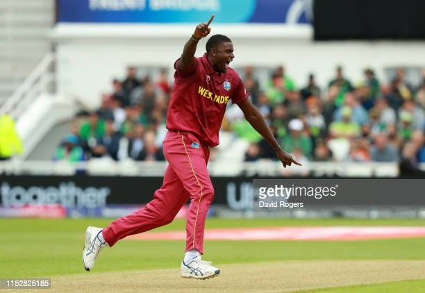 Jason Holder the West Indies captain celebrates after taking the wicket of Imad Wasim during the Group Stage match of the ICC Cricket World Cup 2019...