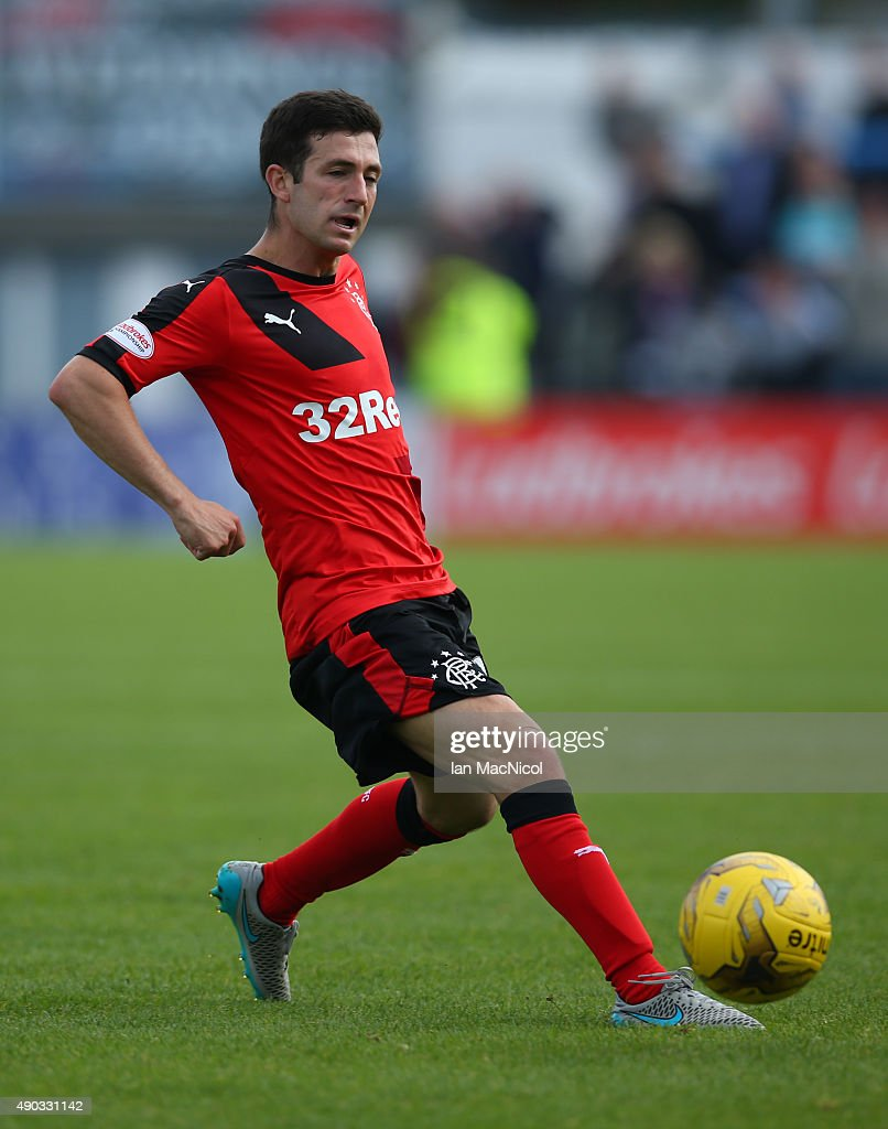 Jason Holt of Rangers controls the ball during the Scottish Championships match between Greenock Morton FC and Rangers at Cappielow Park on September 27, 2015 in Greenock, Scotland.