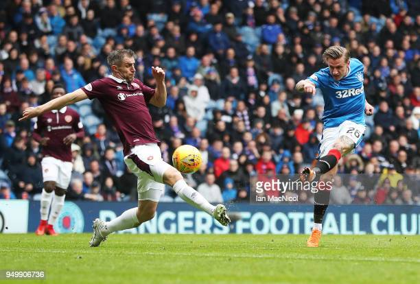 Jason Holt of Rangers shoots at goal during the Ladbrokes Scottish Premiership match between Rangers and Hearts at Ibrox Stadium on April 22 2018 in...