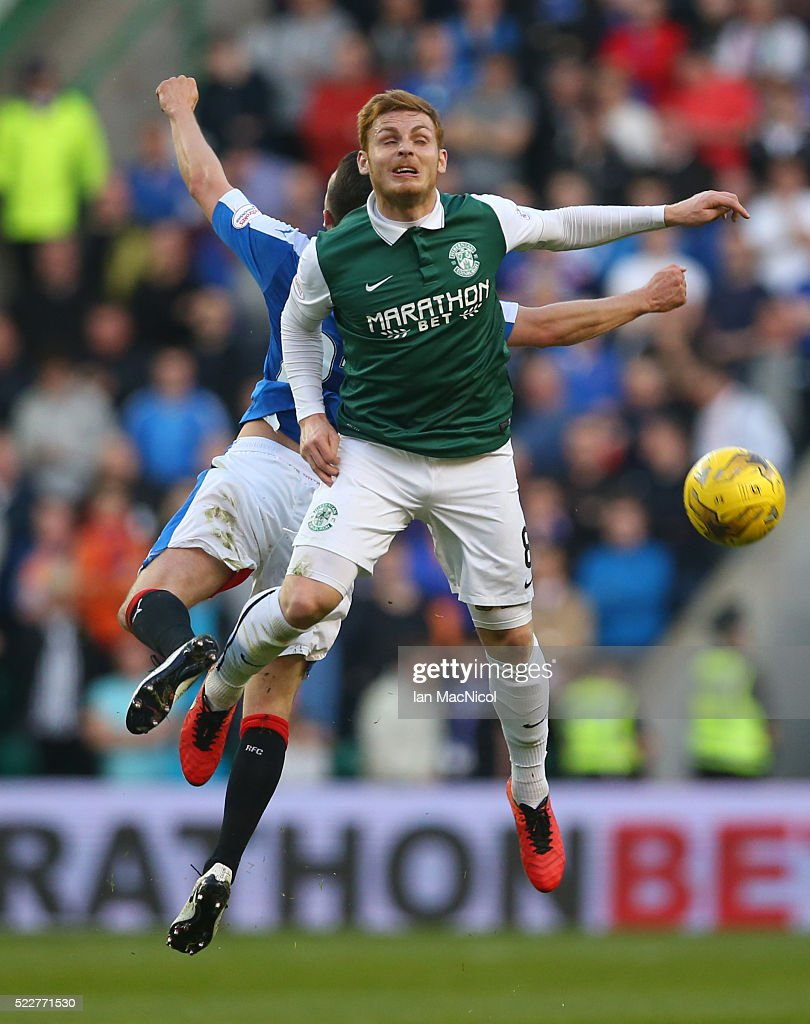 Jason Holt of Rangers vies with Fraser Fyvie of Hibernian during the Scottish Championship match between Hibernian and Rangers at Easter Road on April 20, 2016 in Edinburgh, Scotland.