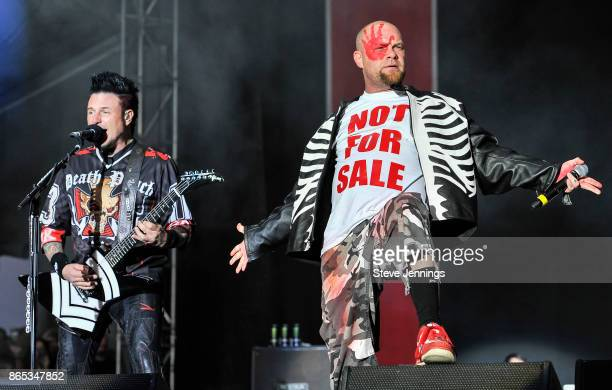 Jason Hook and Ivan L Moody of Five Finger Death Punch perform on Day 2 of Monster Energy Aftershock Festival 2017 at Discovery Park on October 22...