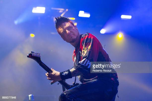 Jason Hook of Five Finger Death Punch performs live on stage at The SSE Hydro on December 18 2017 in Glasgow Scotland
