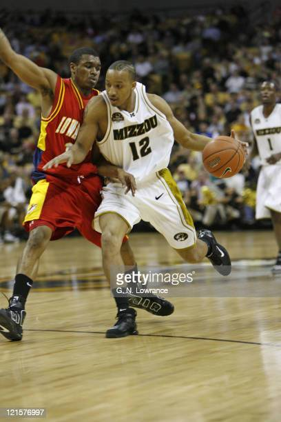 Jason Horton of the Missouri Tigers drives the ball through traffic during 1st half action against the Iowa State Cyclones at Mizzou Arena in...