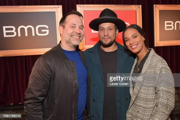 Jason Hradil Abner Ramirez and Amanda Sudando attend BMG celebrates its artists and songwriters during Grammy week at No Name on February 6 2019 in...