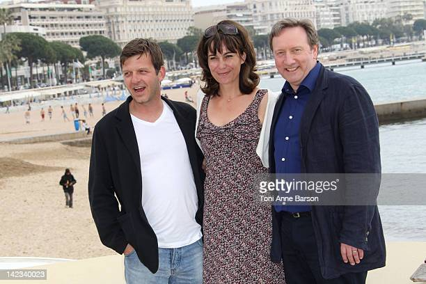 """Jason Hughes, Fiona Dolman and Neil DudGeon, attend """"Midsomer Murders"""" Photocall as part of MIP TV 2012 Hotel Majestic on April 2, 2012 in Cannes,..."""