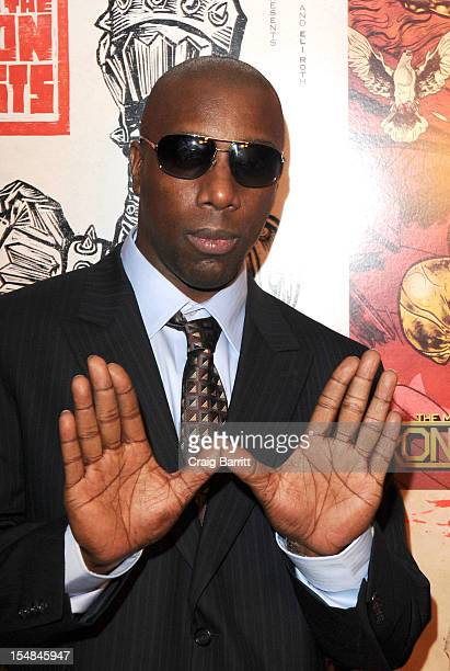 Jason Hunter aka Inspectah Deck attends The Man With Iron Fists New York Special Screening at Lighthouse International Theater on October 27 2012 in...