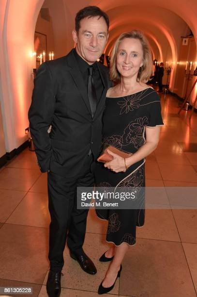 Jason Isaacs and Emma Hewitt attend a cocktail reception at the 61st BFI London Film Festival Awards at Banqueting House on October 14 2017 in London...