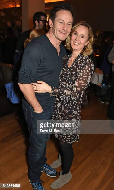 Jason Isaacs and Emma Hewitt attend the press night after party for The Old Vic's production of 'Rosencrantz Guildenstern Are Dead' at The Skylon on...