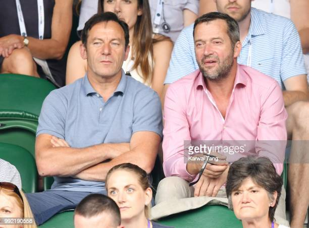 Jason Isaacs and James Purefoy attend day four of the Wimbledon Tennis Championships at the All England Lawn Tennis and Croquet Club on July 2 2018...