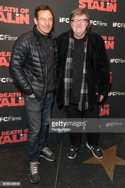 Jason Isaacs and Michael Moore attend New York premiere of IFC Film Death of Stalin at AMC Lincoln Square