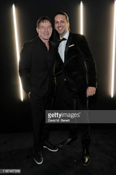 Jason Isaacs and Shazad Latif attend the dunhill & Dylan Jones Pre-BAFTA party at dunhill Bourdon House on January 29, 2020 in London, United Kingdom.